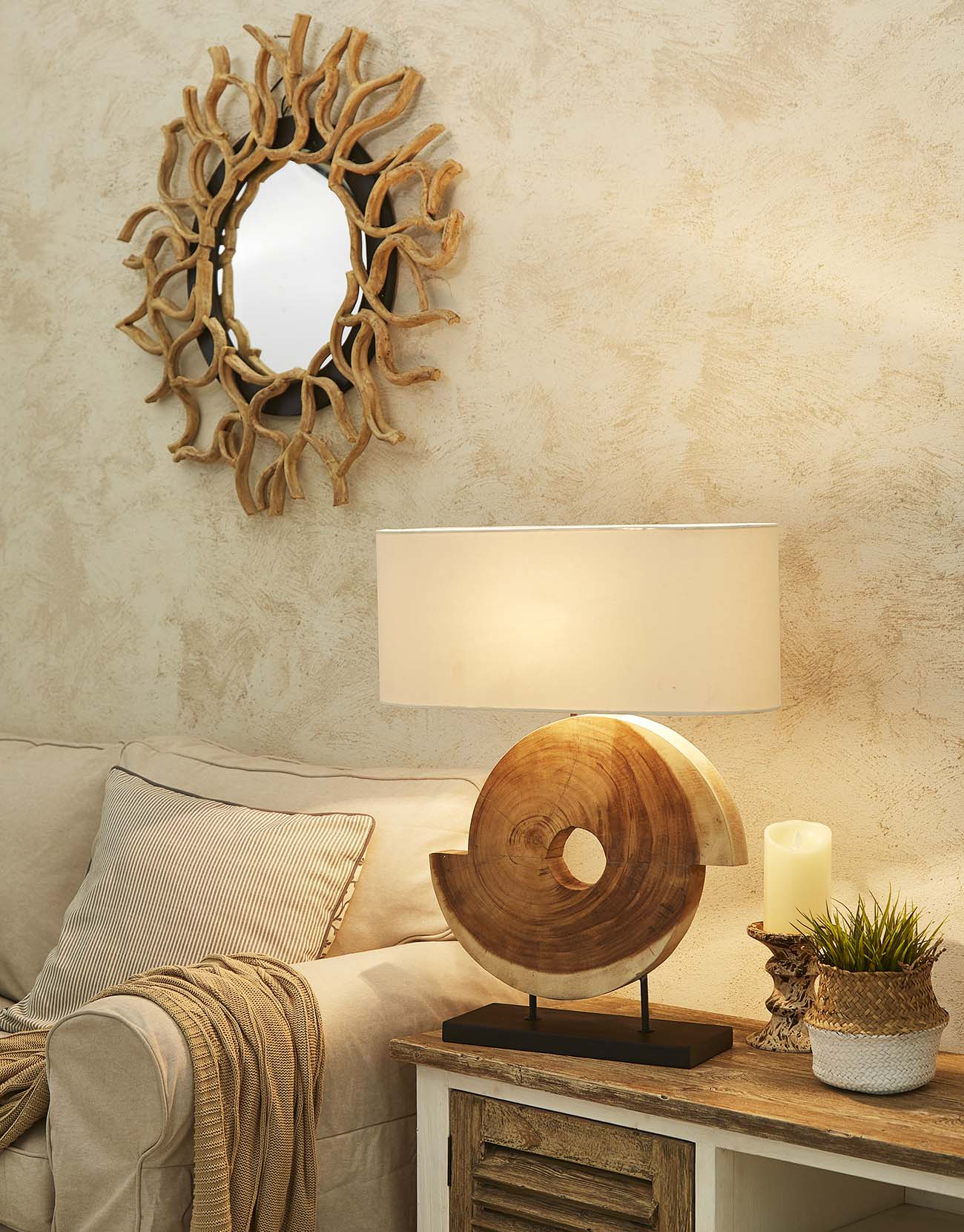 Siab wood table lamp product photo #2