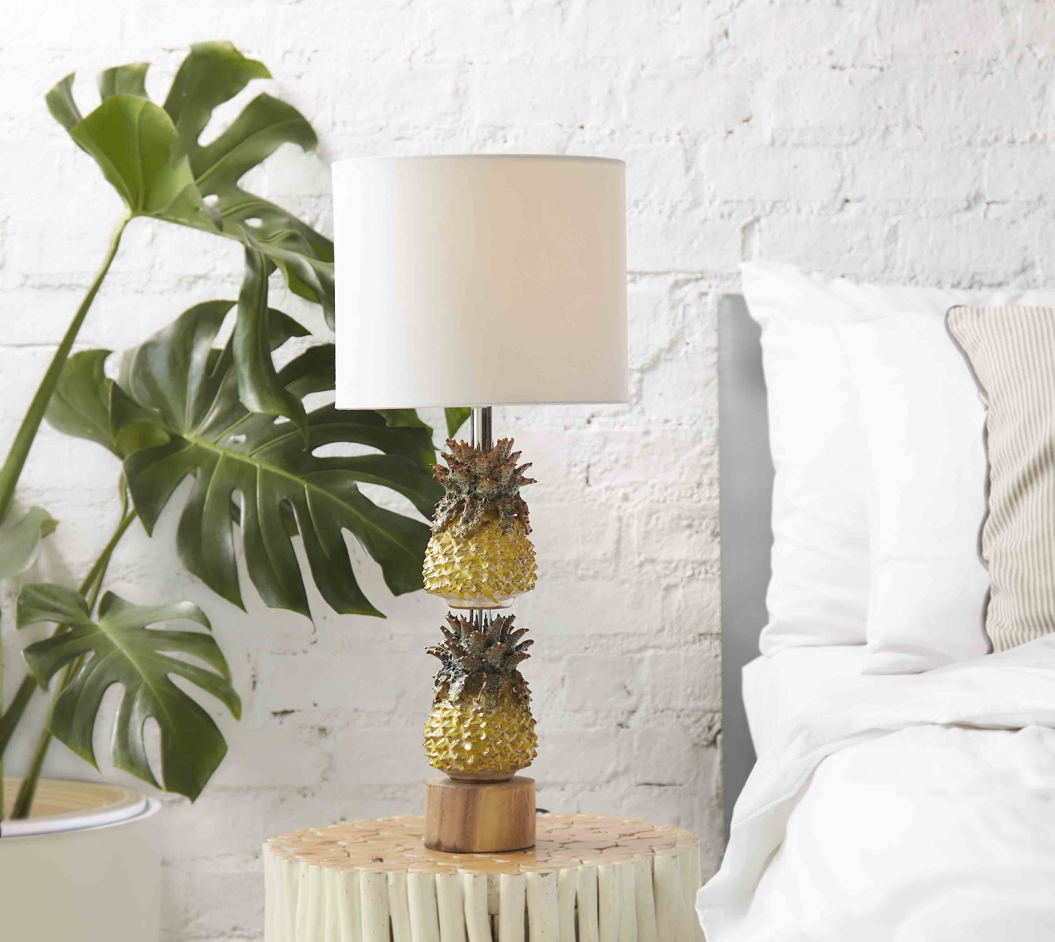 Ceramic Pineapple Lamp on Natural wooden base product photo #2