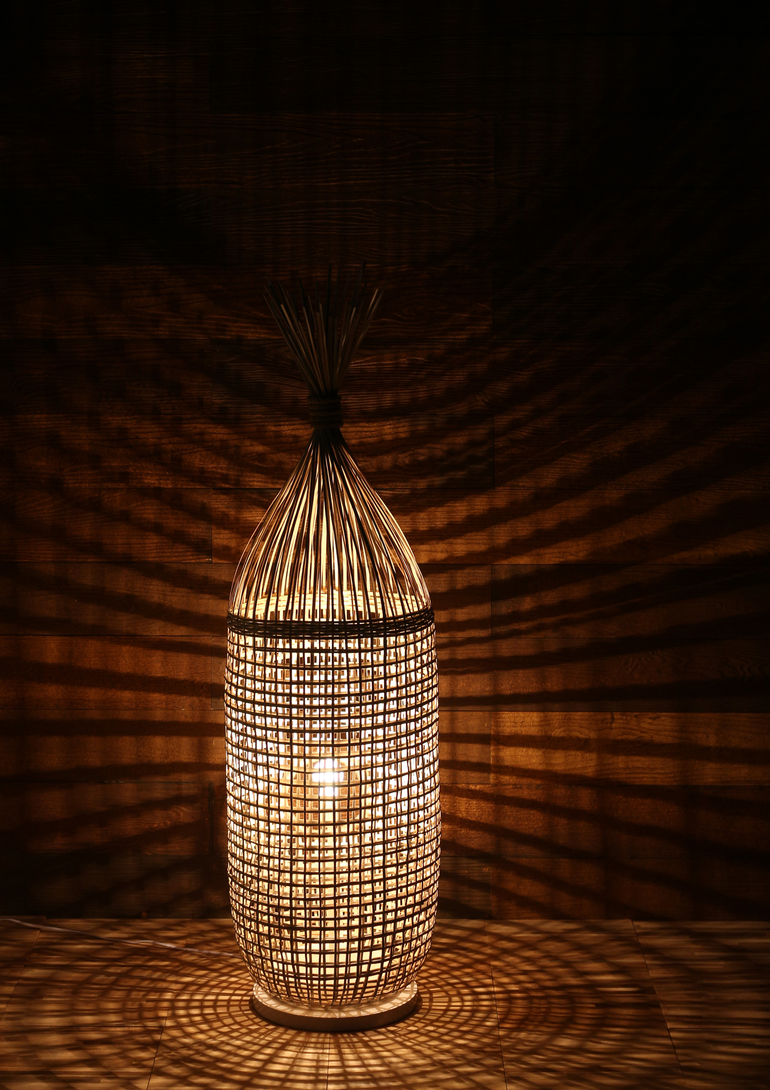 Bamboo cage floor lamp product photo #2