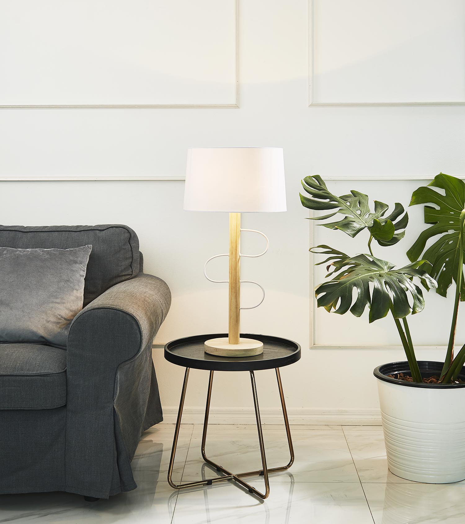 Wooden pulse table lamp product photo #1