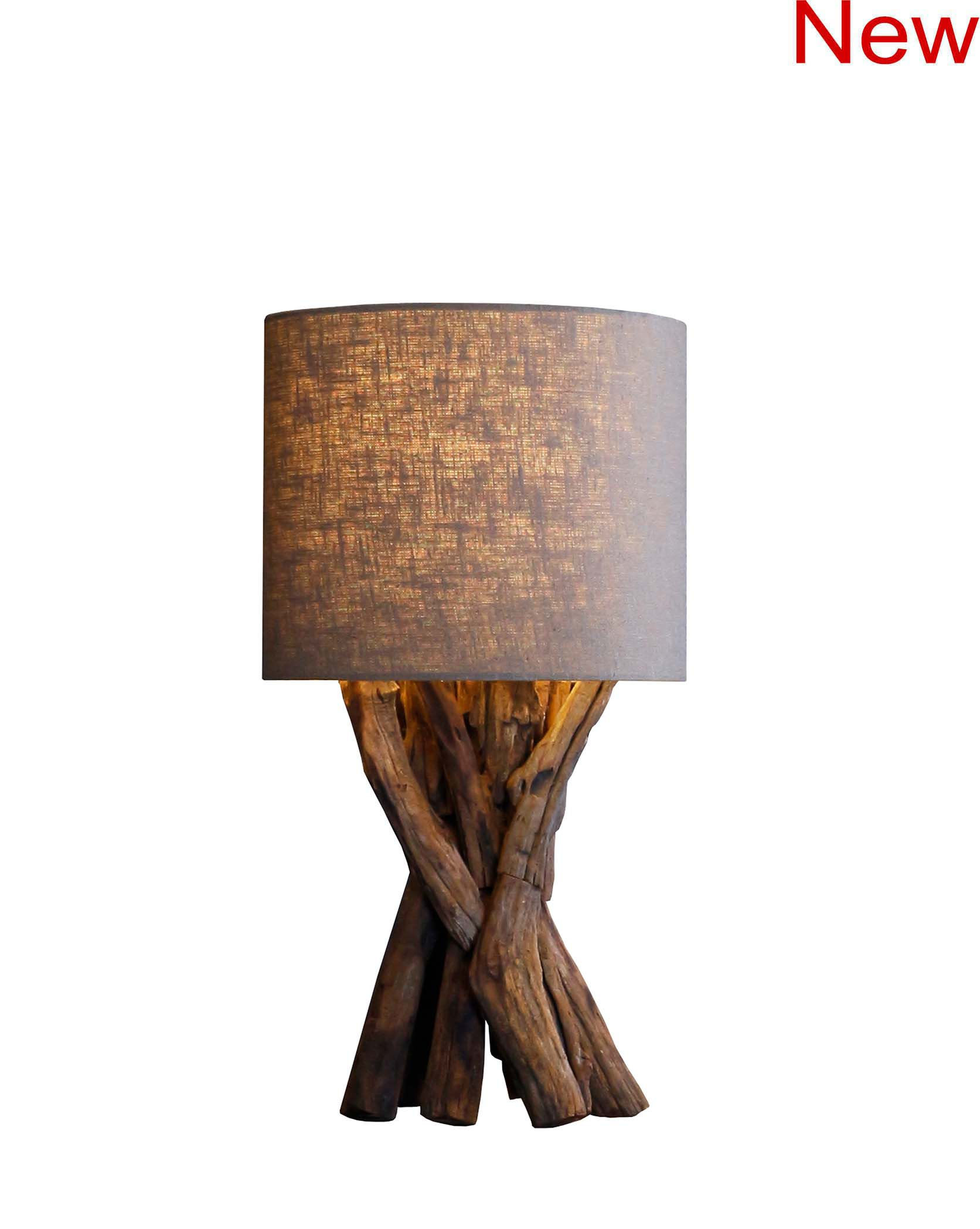Rough wood table lamp product photo #2