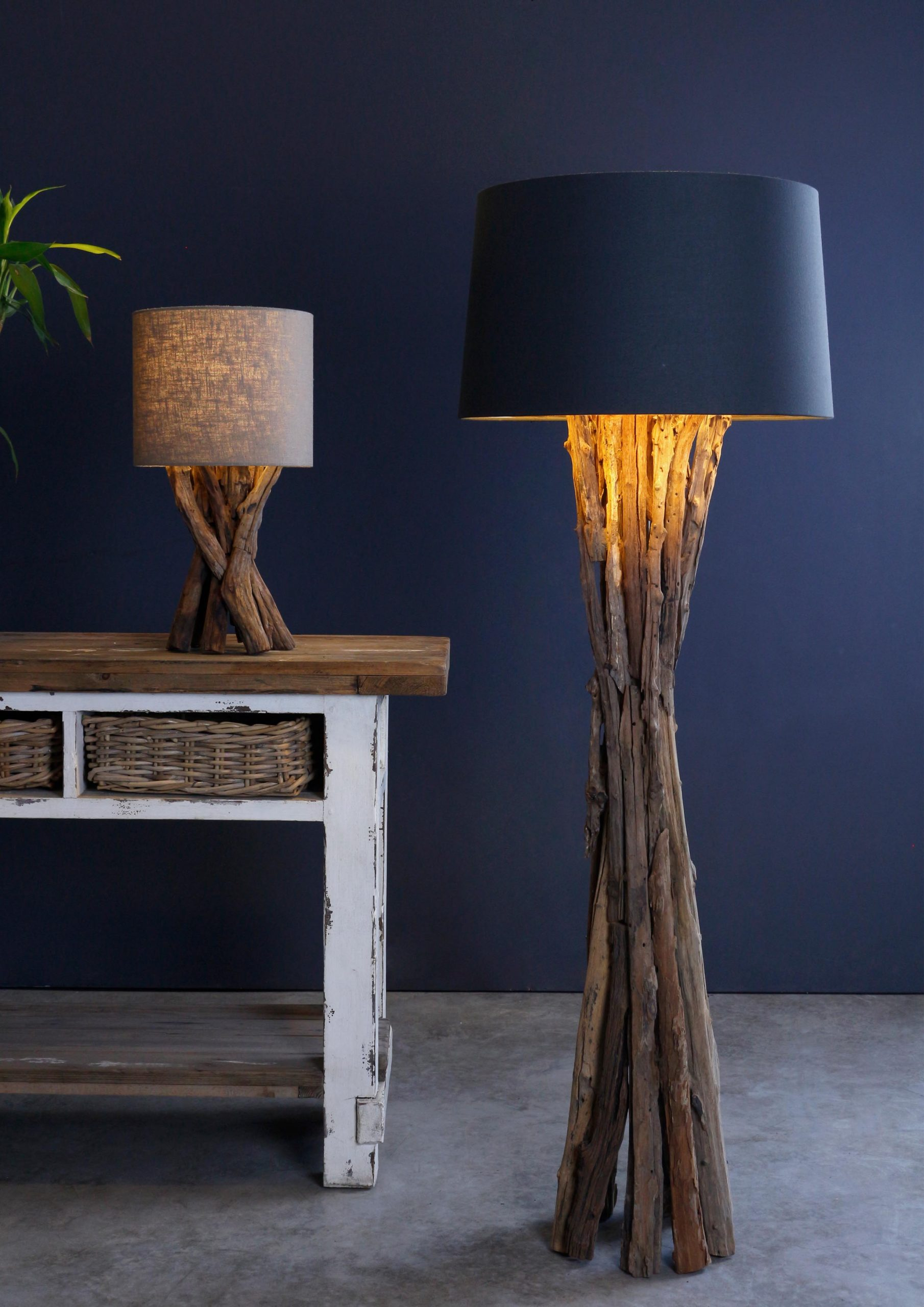 Rough wood table lamp product photo #1