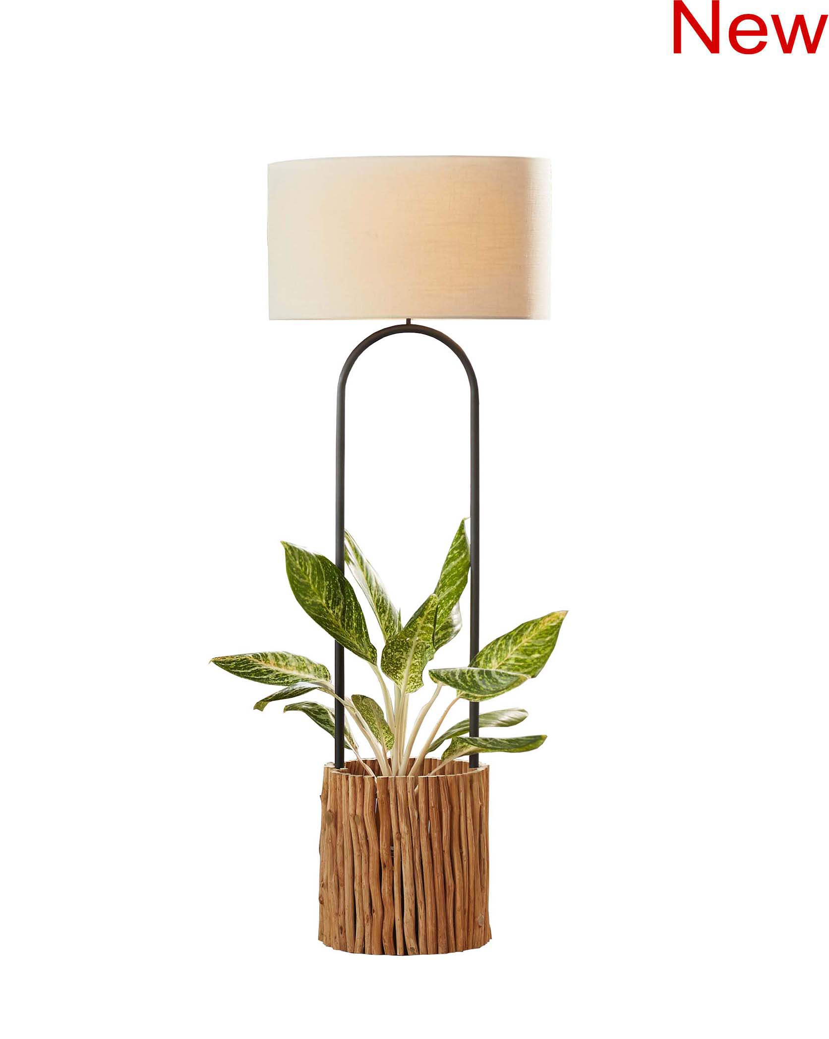 Branches lamp and planter with black plastic pot product photo #2