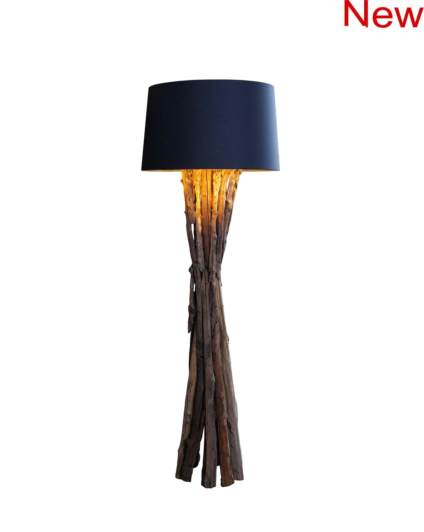 Rough wood floor lamp product photo #2