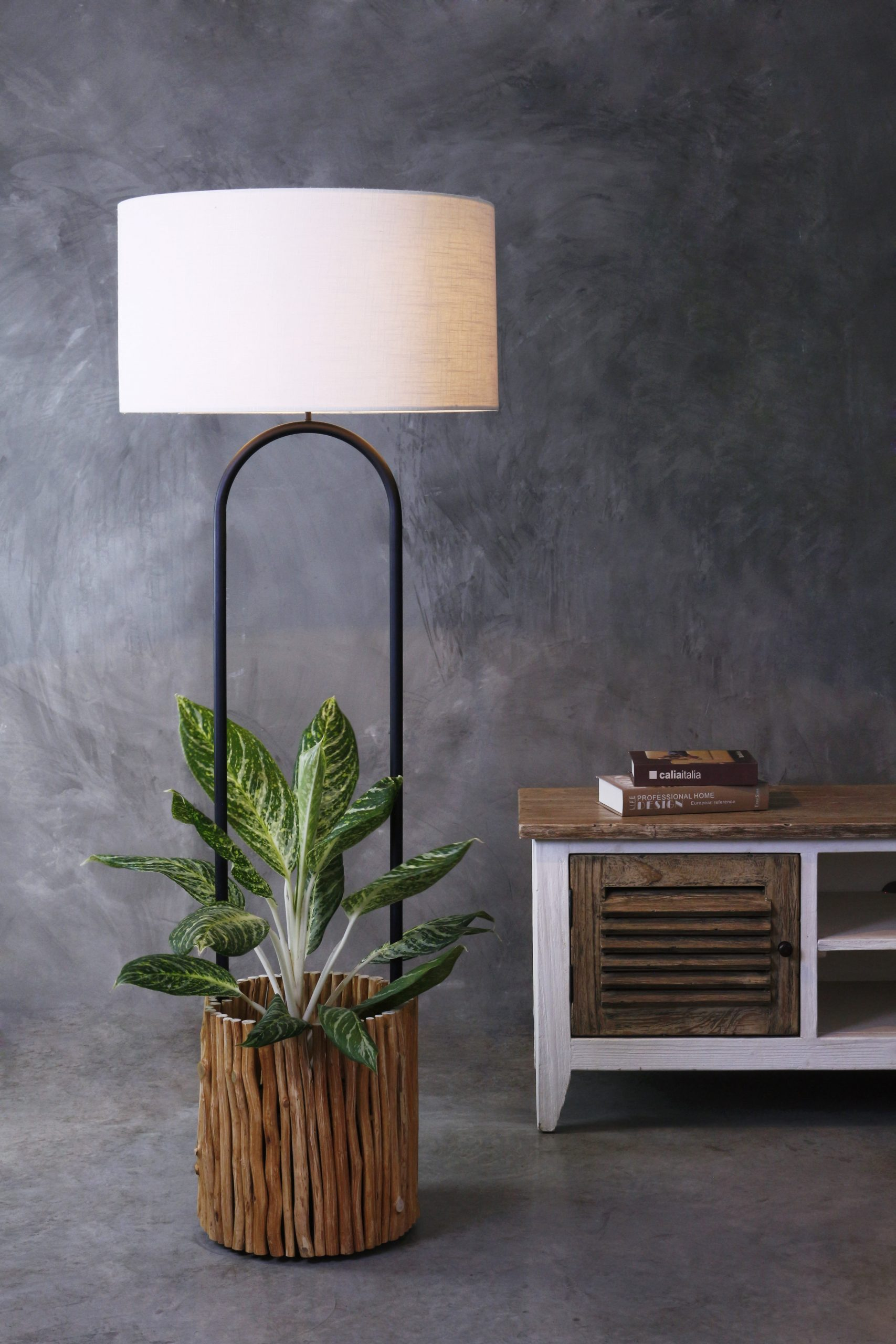 Branches lamp and planter with black plastic pot product photo #1
